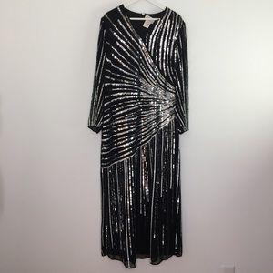Vintage Black Silver Sequins Evening Gatsby Dress
